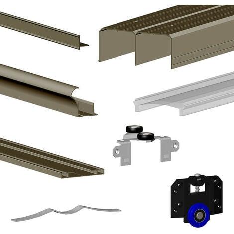 Kit SLID'UP 280 aluminium anodisé bronze pour 3 portes de placard coulissantes 18 mm - rail 3 m - 50 kg - Bronze