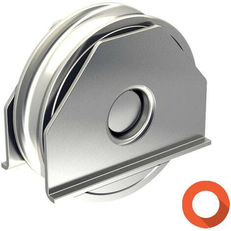 Monture à souder pour portail coulissant - Galet Ø100 mm à gorge ronde Ø16 mm - 200 kg
