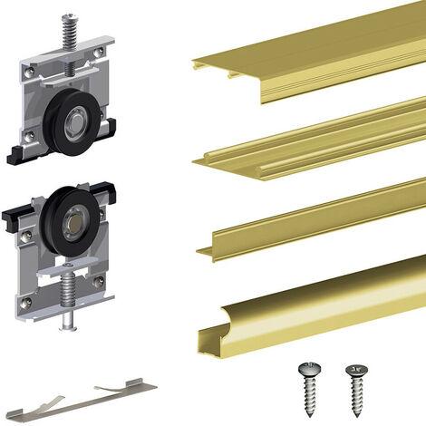 Kit SLID'UP 210 aluminium anodisé or pour 3 portes de placard coulissantes 16 mm - rail 2,7 m - 70 kg - Or
