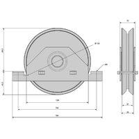 Monture à support intérieur pour portail coulissant - Galet Ø140 mm à gorge en V 21 mm - 550 kg