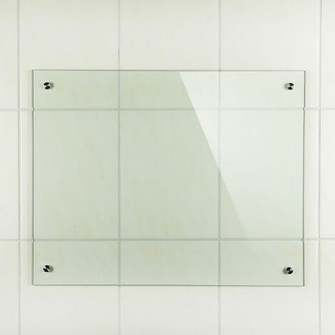 Melko Spritzschutz Herdblende aus Glas, für Küche, Herd, Fliesen, 6 mm ESG Sicherheitsglas, Küchenrückwand, inkl. Schrauben, 80 x 40 cm, Klarglas