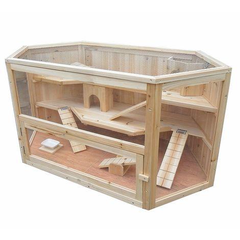 Melko Inconnu petite cage en bois pour animaux, 115 x 60 x 58 cm, y compris 2 chalets + 3 escaliers + 2 balançoires, 3 étages, rongeur villa cage hamster cage souris