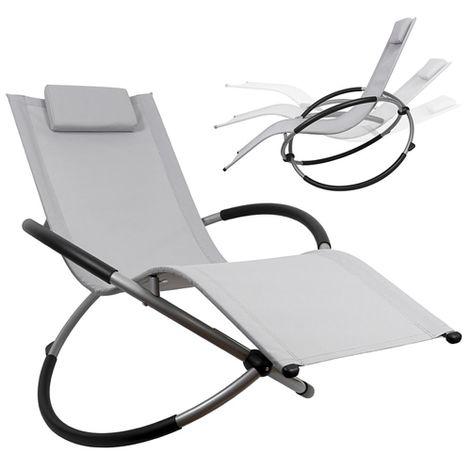 Melko Rocking Lounger chaise longue pliable chaise longue de jardin chaise longue relax chaise longue de plage chaise longue à bascule balcon chaise longue de terrasse chaise longue - Gris