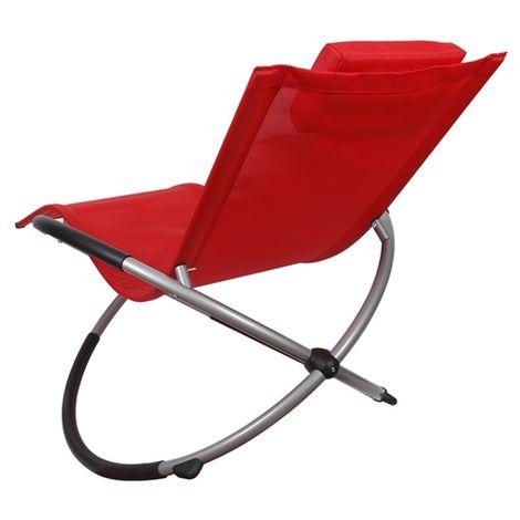 Melko Rocking Lounger chaise longue pliable chaise longue de jardin chaise longue relax chaise longue de plage chaise longue à bascule balcon chaise longue de terrasse chaise longue - Rouge