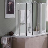 Melko Cabine de douche Plan de baignoire en verre de sécurité ESG 5 mm, pliable, 2 x 140 x 104 cm, verre clair, accessoires inclus