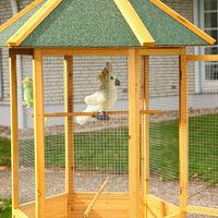 Melko Volière XXL Cage à oiseaux en bois à 6 coins, 74 x 74 x 194 cm, marron