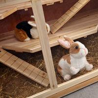 Melko petit animal cage rongeur villa cage hamster cage souris en bois, 117 x 63 x 58 cm, y compris 2 rampes, 3 étages