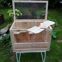 Melko Cage pour petits animaux en bois, 60 x 35 x 42 cm, avec rampe pliable, 5 étages, cage à rongeurs villa hamster cage à souris