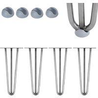 Melko 4 pièces Pieds en épingle à cheveux Pieds de table en épingle à cheveux en acier de 12 mm avec protection de sol, hauteur 20 cm, acier, 3 supports