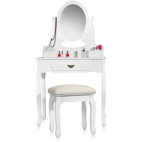 Melko dressing table with mirror and stool, 141 x 75 x 40.5 cm, with lots of storage space in country house style, white