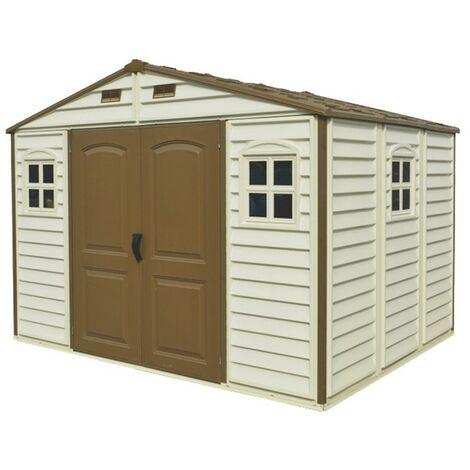 ezooza Abri de Jardin en PVC Woodside 320 x 244 cm Couleur Beige et Marron