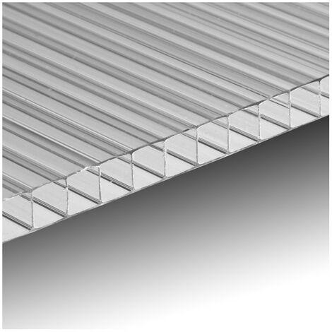 Ezooza Plaque polycarbonate alvéolaire traité UV, 200 x 105 cm, épaisseur 4 mm - Transparent