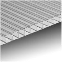 Ezooza Plaque en polycarbonate alvéolaire, 2000 x 980mm, 2 parois, épaisseur 6mm, transparente