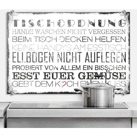 Hygienischer Spritzschutz Küche Wandschutz Herd Glasbild 60x40cm Tischordnung