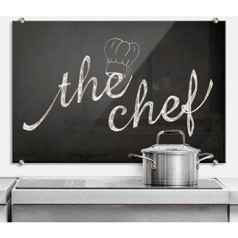 Hygienischer Spritzschutz Küche Wandschutz Herd Glasbild 100x70cm Chef Koch