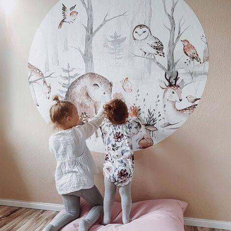 Kinderzimmer Tapete Waldtiere Baby Wanddeko Schlafzimmer Ø140