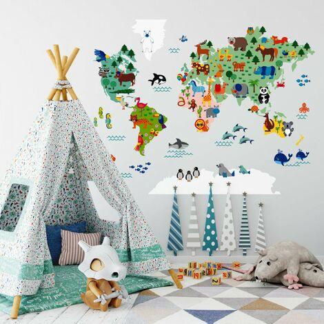 Wandtattoo Kinder Tierwelt Weltkarte Bunt 120x95cm Sticker K11881