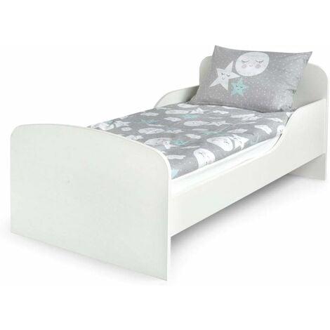 Letto per bambini in legno con materasso Dimensioni:140x70 colore bianco