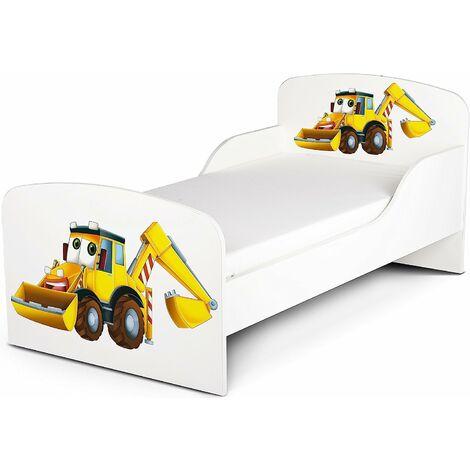 Letto per bambini in legno con materasso Dimensioni:140x70 Mr. Escavatore