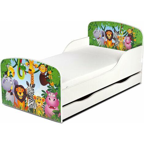 Letto per bambini in legno con cassetto e materasso Dimensioni:140x70 motivo giungla