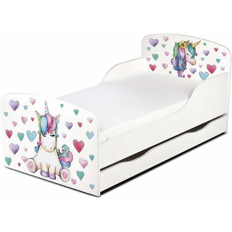 Letto per bambini in legno con cassetto e materasso Dimensioni:140x70 motivo: Unicorno