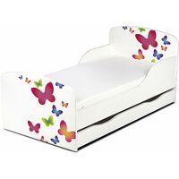 Letto per bambini in legno con cassetto e materasso Dimensioni: 140x70 motivo farfalle