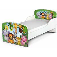 Letto per bambini in legno con materasso Dimensioni:140x70 motivo GIUNGLA