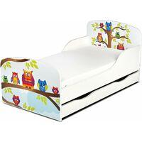 Letto per bambini in legno con cassetto e materasso Dimensioni:140x70 motivo GUFI