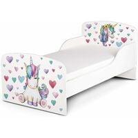 Letto per bambini in legno con materasso 140x70 motivo: Unicorno