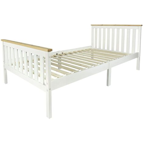 Cama blanca MILANO PINE 200x90 de madera