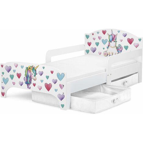 Cama para niños SMART 140/70, con colchón cómodo y cajones. Unicornio.