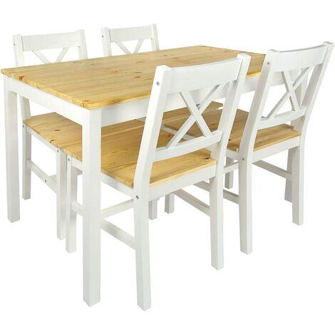 Set: mesa de pino y 4 sillas madera natural WHITE PINE