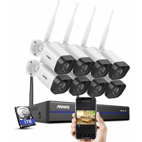 ANNKE Système de caméra de sécurité IP WiFi 8CH avec 8 caméras de surveillance sans fil intérieures extérieures 3M enregistrement Audio IP66 étanche avec disque dur de 1 To