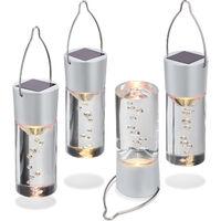 Conjunto de 4 luminarias LED colgantes solares de luz blanca cálida para la decoración de jardín esotec 102117