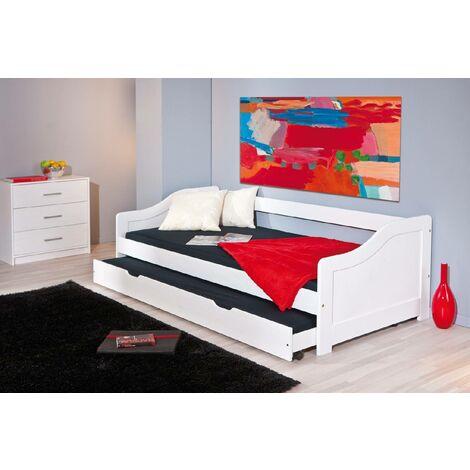 Dmora. Sofá cama individual con cama nido, color blanco, de 199x87x66cm.