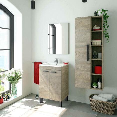Columna de baño suspendida Dmora, color Roble, con una puerta y cinco baldas vistas, 51 x 135 x 25 cm.
