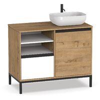 Mueble baño elegante y moderno, con tiradores y estructura en negro, lavabo incluido, 95,5x100x51cm(alto x ancho x profundo),color combinado blanco y roble gold
