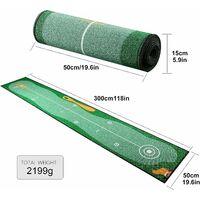 Tapis de Putting de Golf 0.5 * 3m, Professionnel Tapis d'entraînement de Golf à Domicile, Tapis de Practice Golf pour Cour Intérieure Extérieure