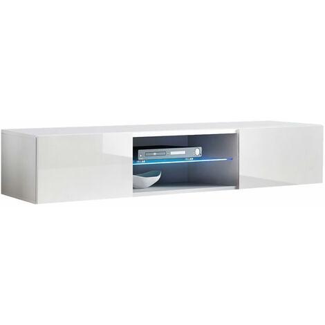 Meuble TV 2 portes 1 vitrine – Blanc Finition brillante LED – 160 x 30 x 38.5cm – TIBI