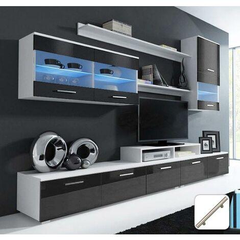 Meuble mural TV Arizona blanc et noir mod. 1 (Avec poignées de metal)