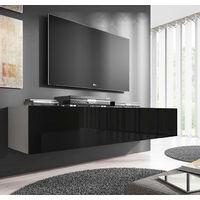 Meuble TV modèle Nora H2 (160 cm) blanc et noir
