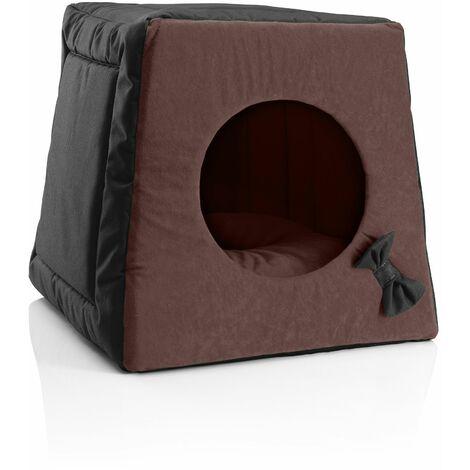 BedDog® Chat Grotte 3en1 MIA, Hutte pour Chat, Corbeille pour Chat, Cabane pour Chat, Lit pour Chat Chien, Matelas lavable, 10 couleurs au choix:BLACK-FIELD (noir/brun)
