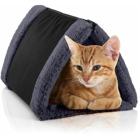 BedDog® chat tunnel 3en1 LUNA, 14 couleurs au choix, grotte pour chat en Cordura & Microfibre Velours, matelas pour chat double face, lit de chat chien lavable:THE-ROCK (noir/gris)
