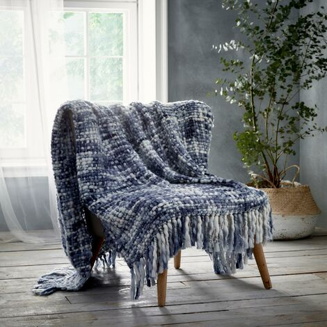 Marley Blue Throwover Throw Blanket Knitted Sofa/Bed Accessory