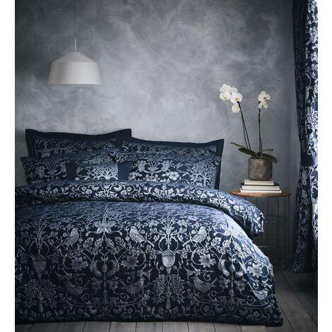 Oak Tree Jacquard Midnight Blue Super King Size Duvet Cover Set Bedding Bed Set Bed Linen