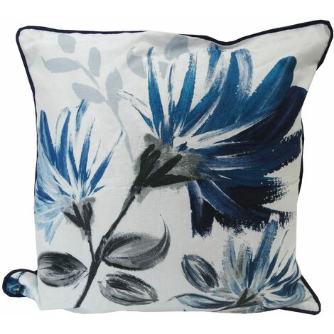 Floral Blue Square Cushion Cover 100% Cotton Piped Scatter Case Painterly New