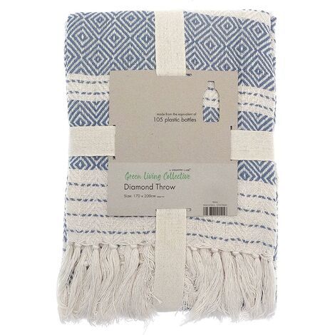 COUNTRY CLUB Diamond Throw Over Blanket Bed/Sofa Accessory Navy 120x150cm, Blue, 120 X 150 cm