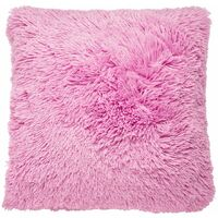 Catherine Lansfield Faux Fur Cuddly Cushion Cover - Baby Pink