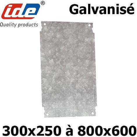 Plaque en acier galvanisé pour coffret polyester IDE pour coffret IDE (HxL) 300x250