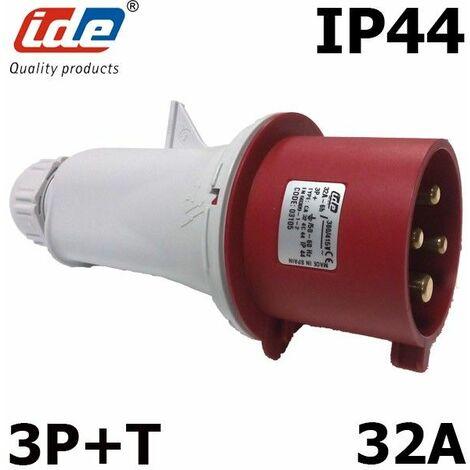 Prise mâle triphasé 380V 3P+T 32A IP44 IP44 - Fiche mâle 3P+T - 32A - 380V